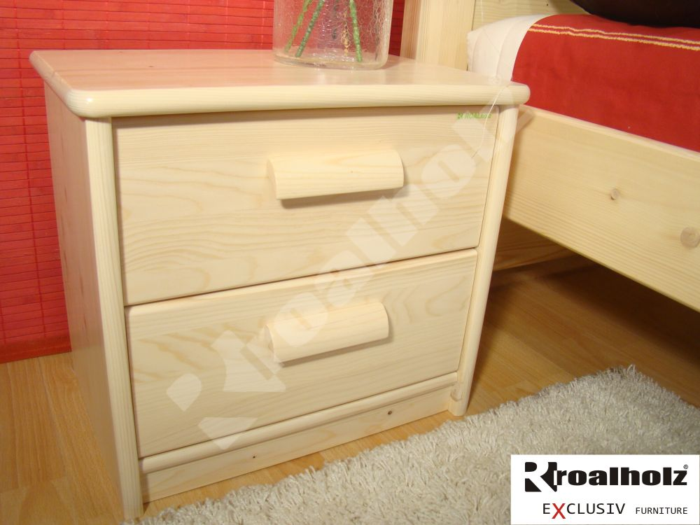 Dřevěný noční stolek z masivu MARTINA, šuplíkový noční stolek ROALHOLZ