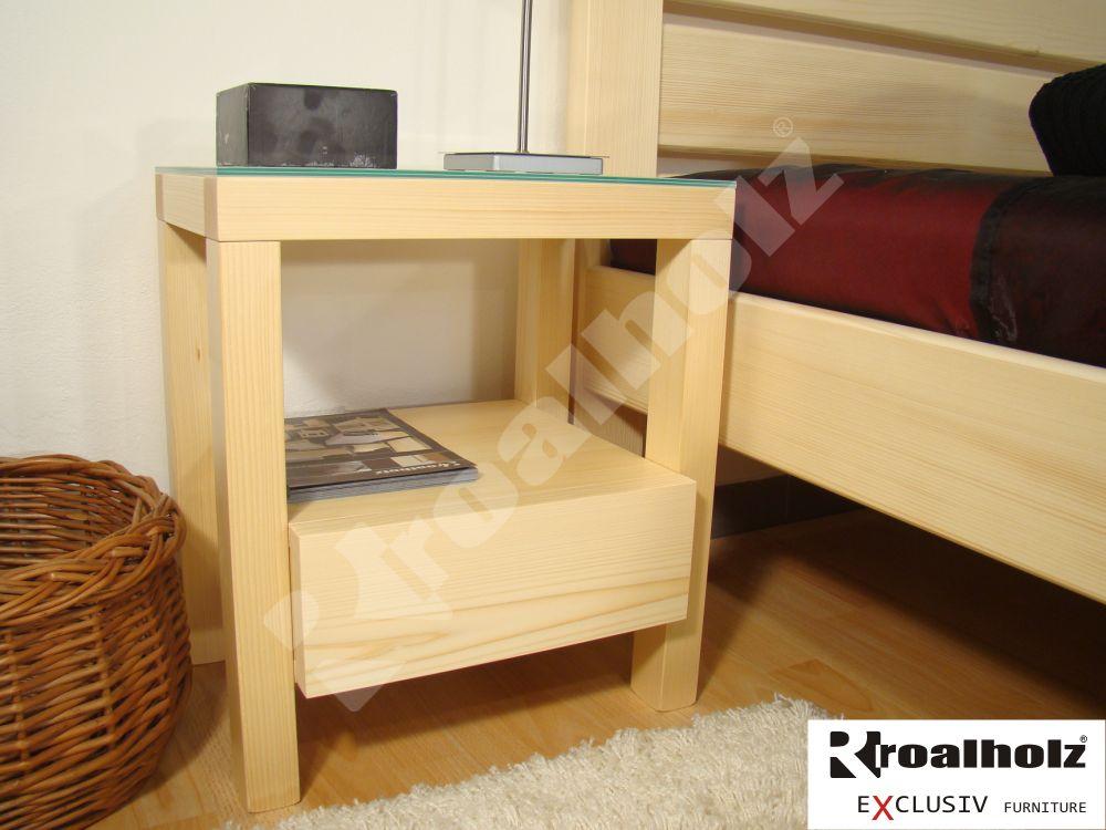 Design moderní noční stolek z masivu XIDAS, noční stolek sklo ROALHOLZ